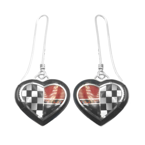 Heart inlay earrings by Kelly Charveaux
