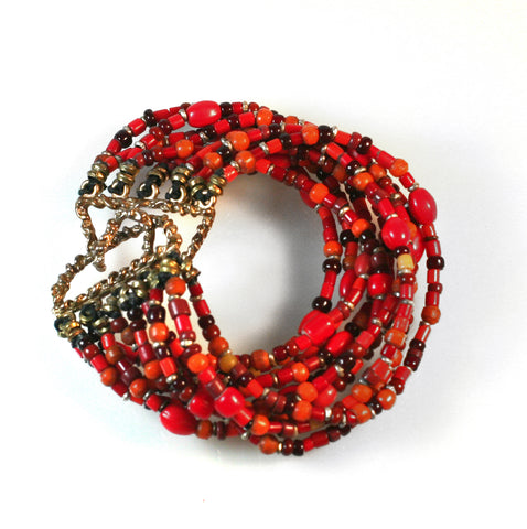 African red trade bead bracelet