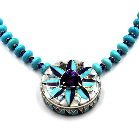 amethyst & turquoise inlay necklace