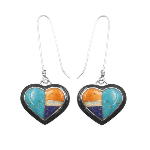 Multi stone inlay heart earrings by Kelly Charveaux