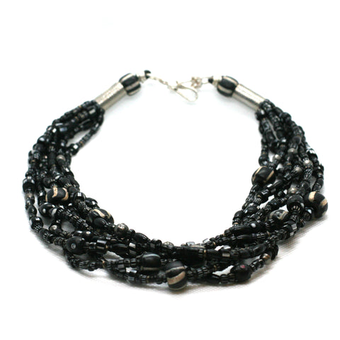 African Black Trade Bead Necklace by Kelly Charveaux