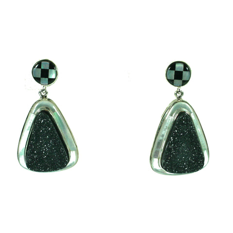 Black druzy earrings with inlay by Kelly Charveaux
