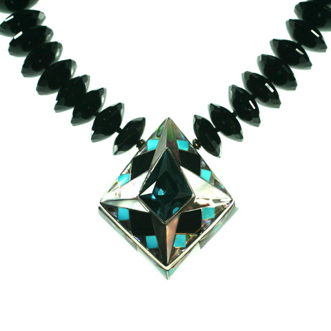 Blue topaz necklace with inlay pattern by Kelly Charveaux