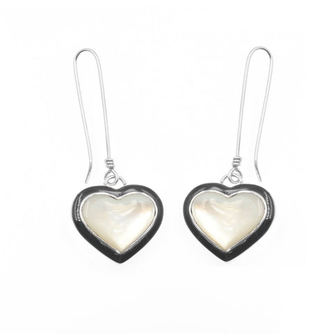 Mother of pearl inlay heart earrings by Kelly Charveaux
