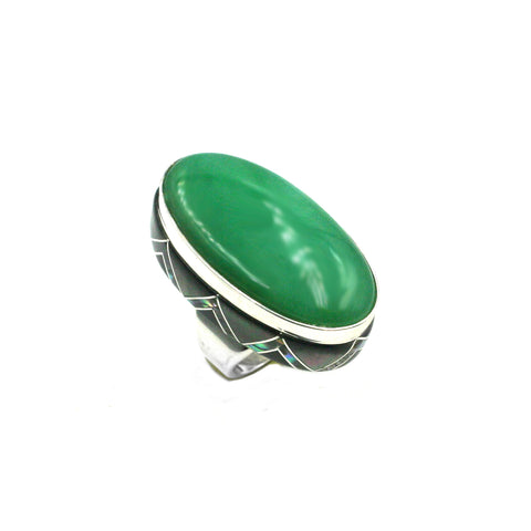 Chrysoprase ring with inlay by Kelly Charveaux