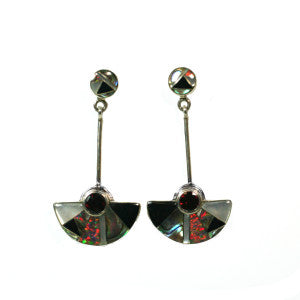 Garnet Fan Earrings