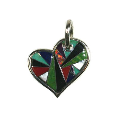 Inlay heart pendant by Kelly Charveaux