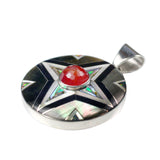 Inlay shield pendant by Kelly Charveaux