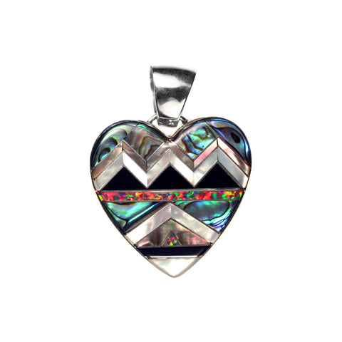 Aztec inlay heart pendant by Kelly Charveaux