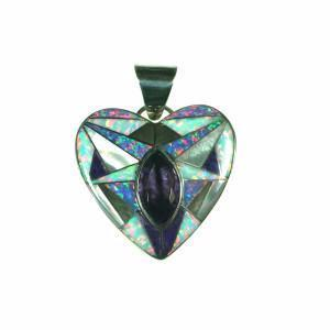 Inlay pendant with amethyst by Kelly Charveaux