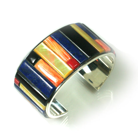 Lapis and spiny oyster inlay bracelet by Kelly Charveaux
