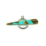 Inlay toggle with turquoise and tiger eye by Kelly Charveaux