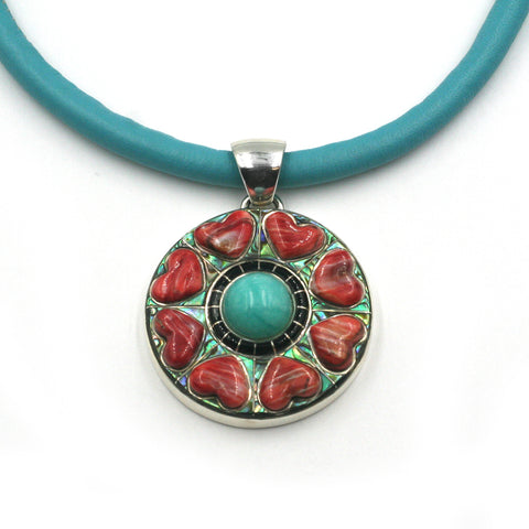 Kaliedescope heart pendant with red spiny oyster