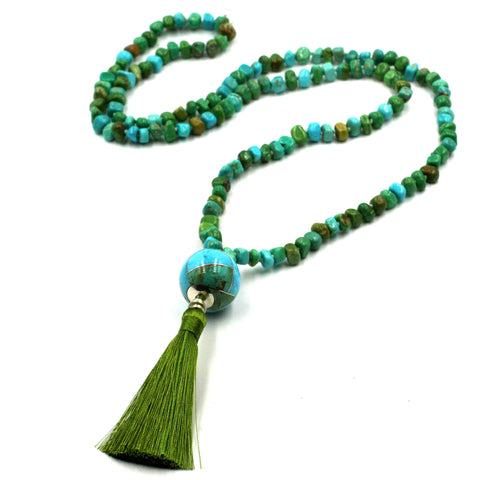Kingman turquoise mala necklace