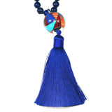 Lapis mala necklace with inlay bead by Charveaux