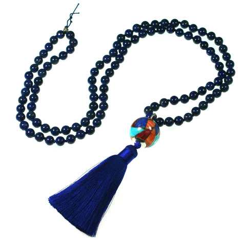 Lapis Mala Necklace with inlay bead