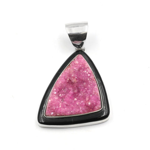 Pink Cobalto Calcite Pendant with inlay by Kelly Charveaux