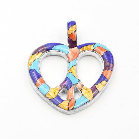 Inlay heart pendant jewelry by Kelly Charveaux