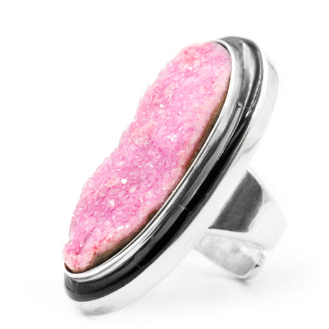 cobalto calcite ring with inlay by Kelly Charveaux