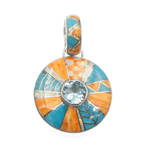 inlay jewelry blue topaz pendant Charveaux