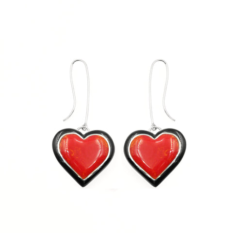 Red heart inlay earrings by Kelly  Charveaux