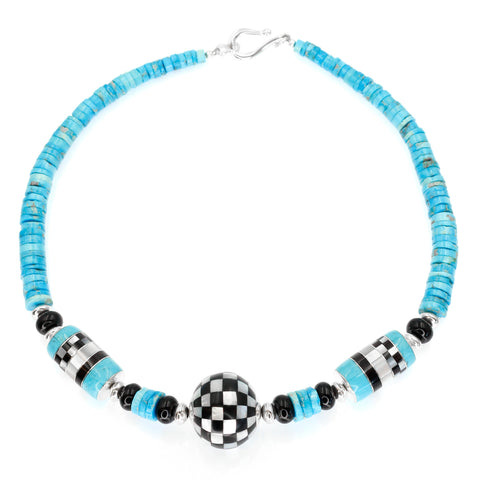 turquoise and checkerboard necklace by Kelly  Charveaux