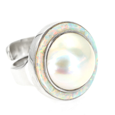 Mabe Pearl Ring  With Inlay By Kelly Charveaux