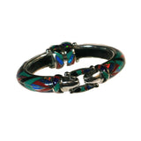 Bold turquoise and stone inlay bracelet by Charveaux