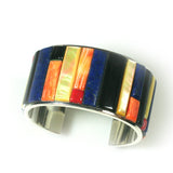 Multi stone corn row inlay cuff bracelet by Charveaux