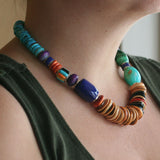 Multi stone necklace with inlay bead by Kelly Charveaux