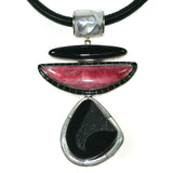 Rhodochrosite and black druzy pendant with inlay by Charveaux