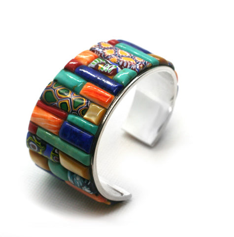 Trade beads as inlay in cuff bracelet by Kelly Charveaux