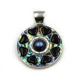 inlay jewelry pendant by Kelly Charveaux
