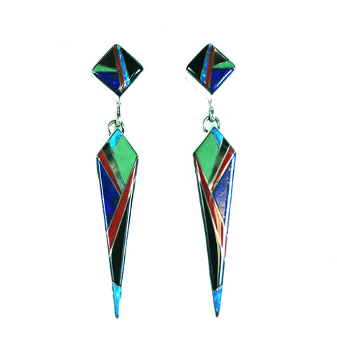 Inlay dangle earrings by Kelly Charveaux