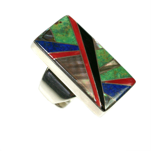 Turquoise and lapis inlay ring by Kelly Charveaux