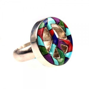 Peace Multi Inlay Ring