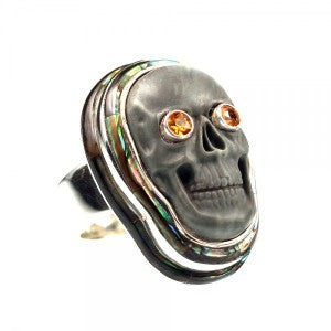 Skull Ring with Citrine
