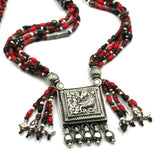 (neck003) Trade Bead Necklace With Silver Prayer Box Pendant