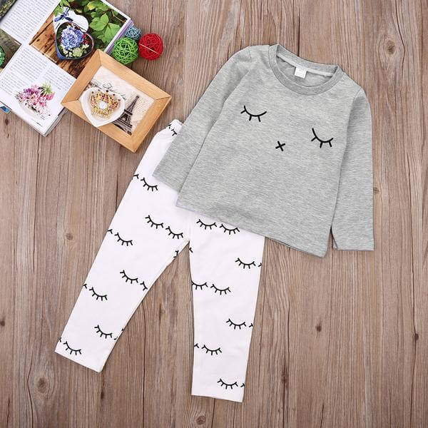 Cute Sleepy Eyes Lashes Top + Pants Outfit, 2-Piece Set - baby-needs-infant-products-toddler-babies-stuff-baby-items-bottle-feeder-hipseat-carrier-toy-toys-elephant-rocker-bouncer-electric-nail-trimmer-baby-mama-care-breastfeeding-pregnancy-pregnant-newborn