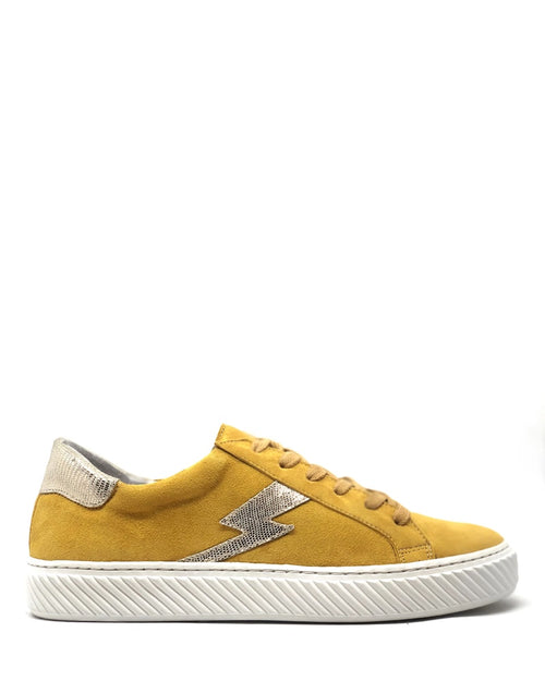 Esska yellow nola trainers are available to buy online from Damsel in Chiswick