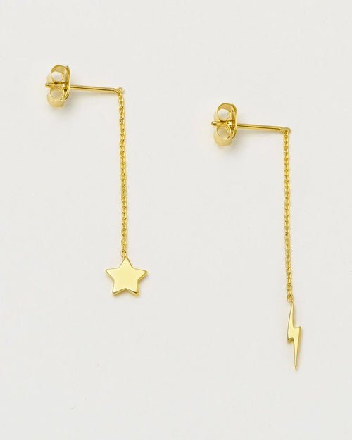 Estella Bartlett moon and bolt chain earrings are available to buy online from Damsel in Chiswick