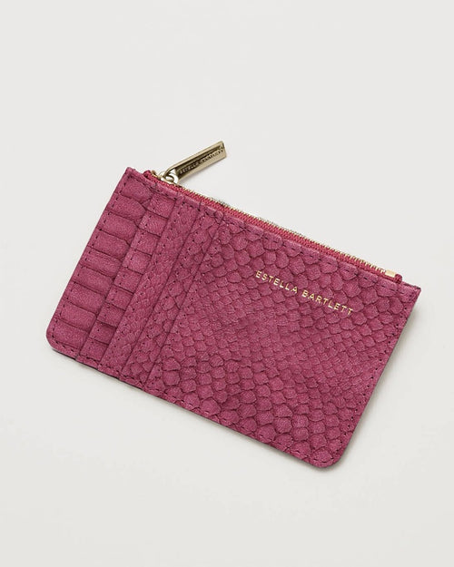 Estella Bartlett snake effect card purse in burgundy is available to buy online from Damsel in Chiswick