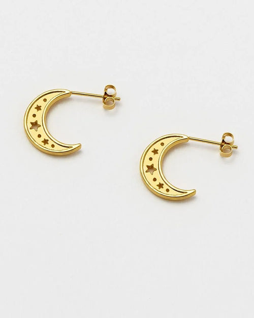 Estella Bartlett moon earrings with cutout stars is available to buy online from Damsel in Chiswick