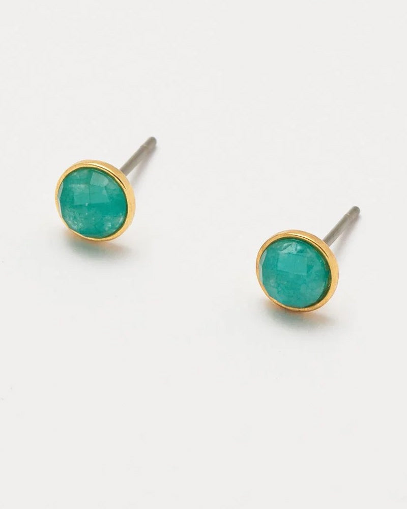 Estella Bartlett aqua chalcedony stud earrings are available to buy online from Damsel in Chiswick