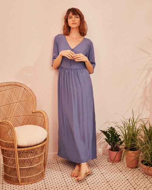 Des Petits Hauts teorie dress in blue is available to buy online from Damsel in Chiswick