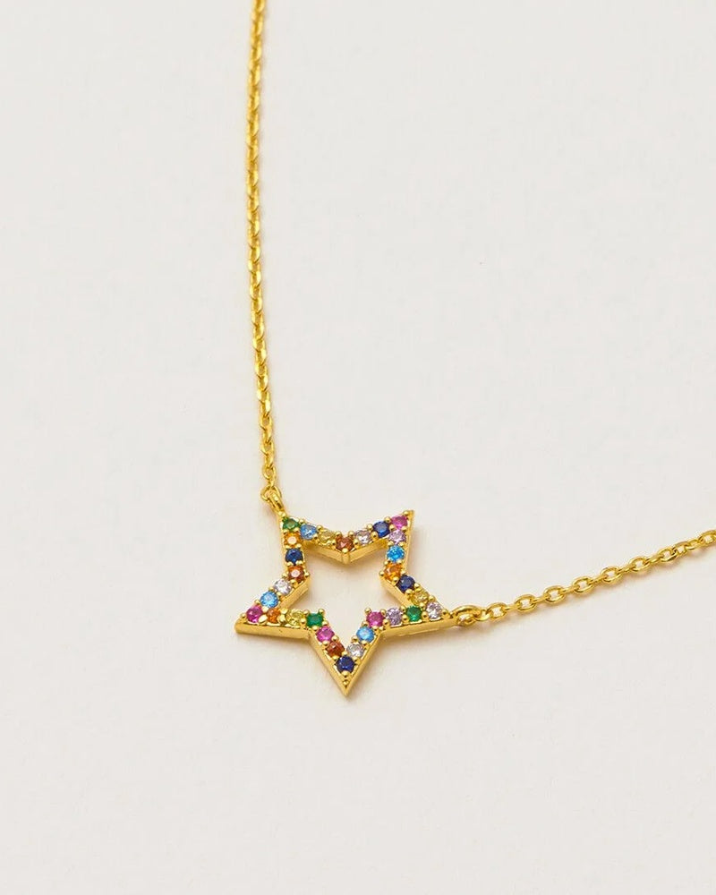 Estella Bartlett rainbow open star necklace is available to buy online from Damsel in Chiswick