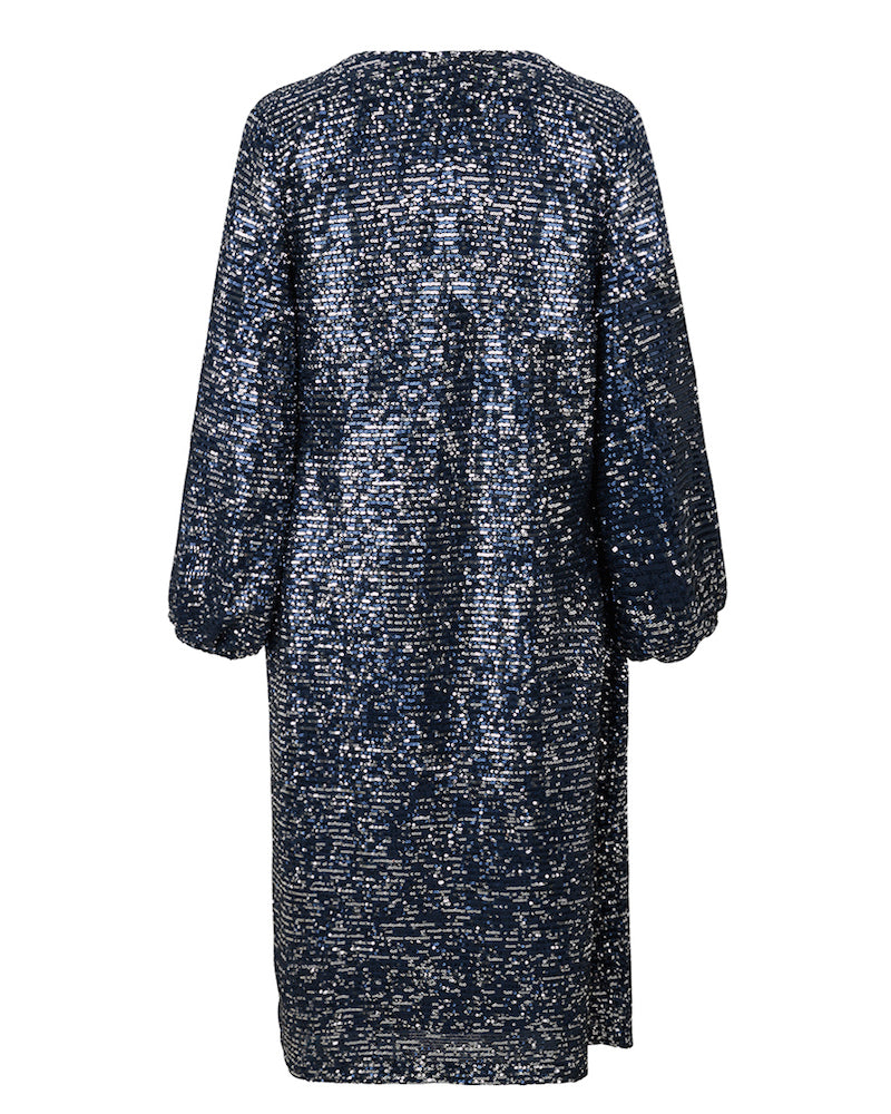 Sequin wrap dress in dark blue from Becksondergaard is available to buy from Damsel