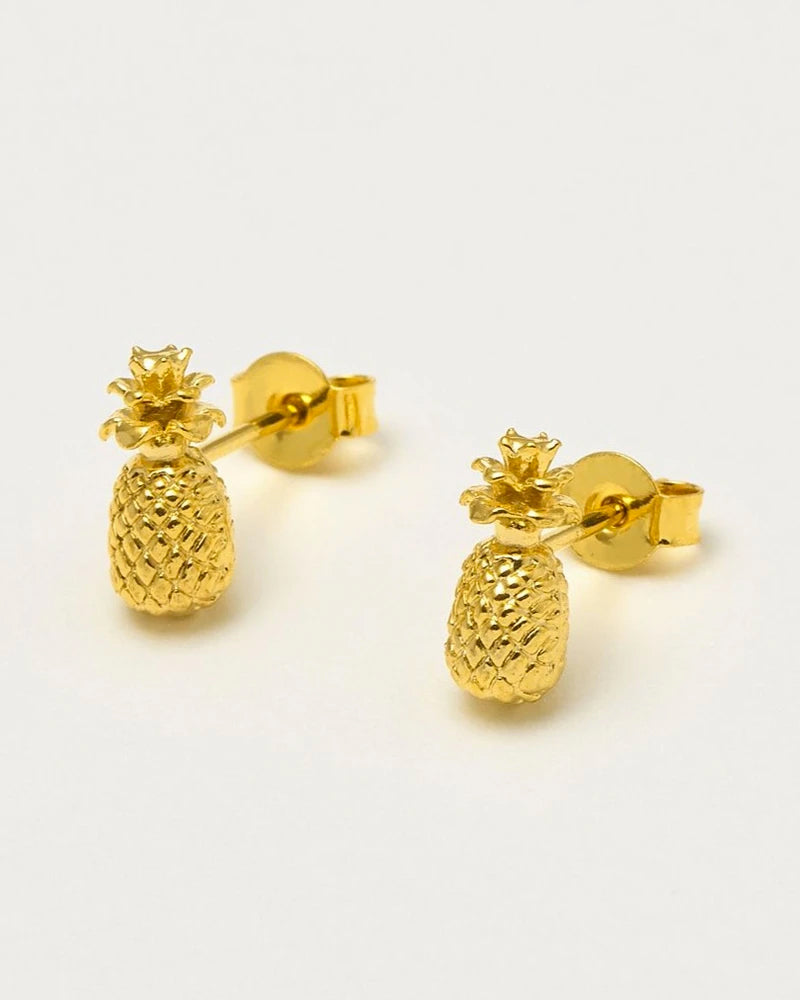 Estella Bartlett gold pineapple stud earrings are available to buy online from Damsel in Chiswick