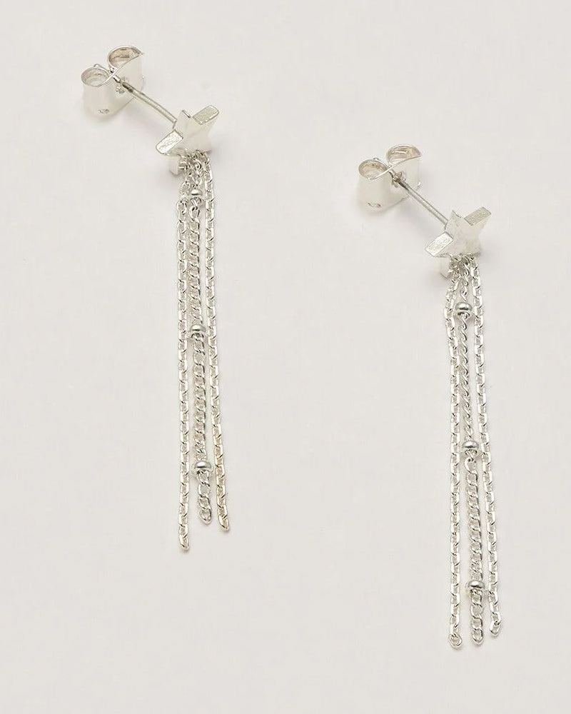 Estella Bartlett silver chain earrings are available to buy online from Damsel in Chiswick