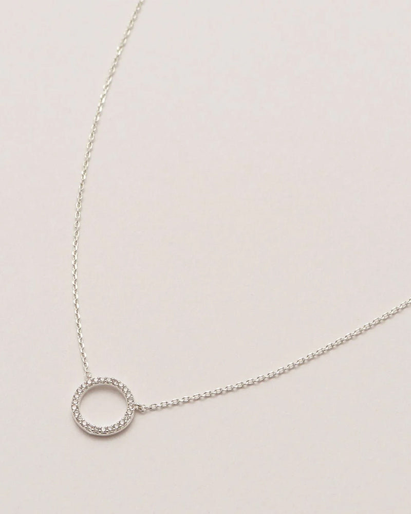 Estella Bartlett Necklace - Circle Silver CZ